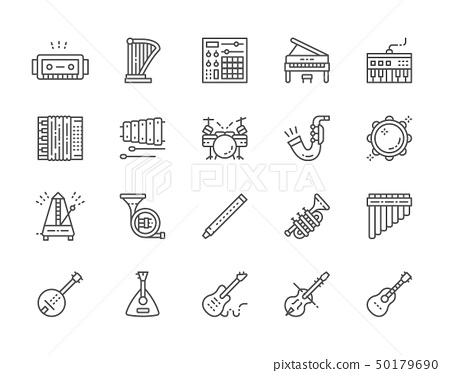 Set of Musical Instruments Line Icons. Piano, Accordion, Violin, Guitar and more 50179690