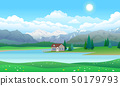Beautiful landscape with house on lake, forest and mountains 50179793