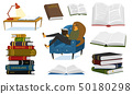 A fan of books a woman is sitting on the couch. Stylish literature lover with glasses. A stack of 50180298