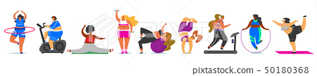 Set of Fitness Woman. Health sport in club. Cute Plus Size. Fat girls doing exercises, running on 50180368