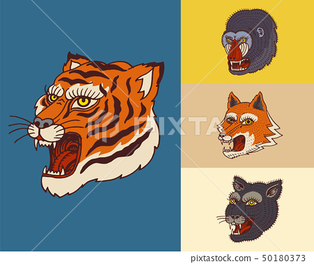 Vintage animal heads. Logo for t-shirt. Wild Asian Tiger, panther, fox, Monkey. Hand drawn Engraved 50180373