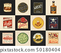 Alcohol Labels. Set of Vintage American badge with calligraphic elements.Hand drawn engraved Rum 50180404