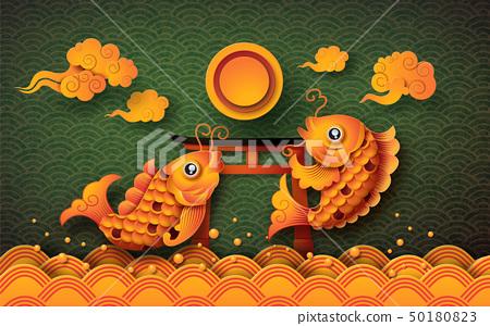 Golden koi fish with fullmoon 50180823