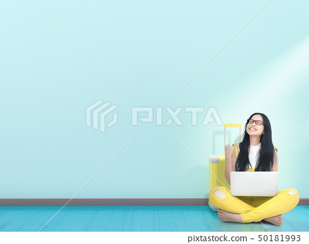 Young Woman and yellow suitcase 50181993