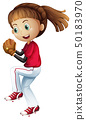 Girl playing baseball about to pitch 50183970