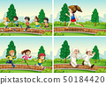 Set of children running at the park 50184420