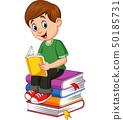 Cartoon Little boy reading book 50185731