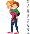 Father giving his little girl piggyback ride 50185739