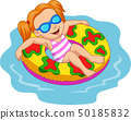 Girl floating with inflatable ring 50185832