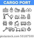Cargo Port Vector Thin Line Icons Collection 50187500