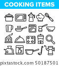 Cooking Items Vector Thin Line Icons Set 50187501