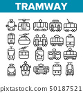 Tramway, Urban Transport Thin Line Icons Set 50187521