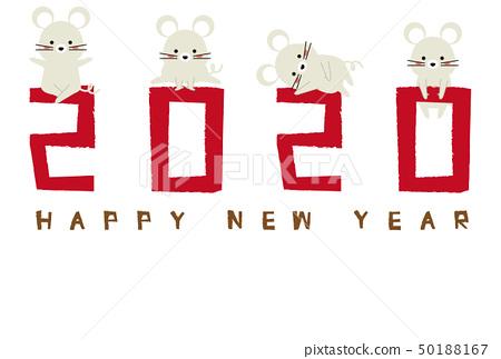 2020新年賀卡模板紅色白色鼠標 50188167