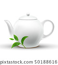 Ceramic White Teapot With Vector Green Tea Leaf 50188616