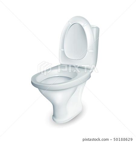 Realistic Restroom Ceramic Toilet Bowl Vector 50188629