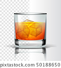 Realistic Glass With Bourbon And Ice Cubes Vector 50188650