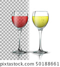 Realistic Glass With Red And White Wine Vector 50188661
