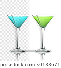 Realistic Glass With Alcoholic Cocktail Vector 50188671