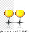 Realistic Glass With Apple Cider Or Beer Vector 50188693