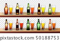 Different Bottles And Glasses With Beer Set Vector 50188753
