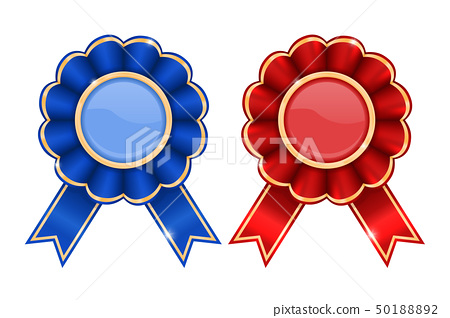 Blue and red award badges 50188892