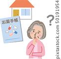 약 수첩을 집에 잊어 노인 여성 50191954