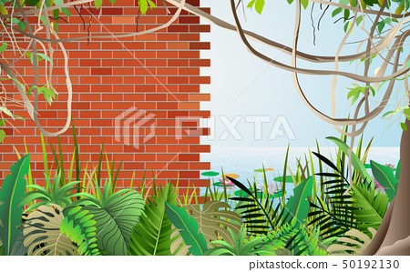 landscape of brick wall of the ancient city in the 50192130