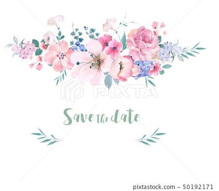 美麗的水彩玫瑰花和牡丹花 50192171