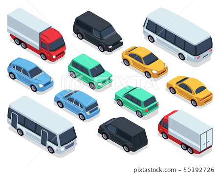 Isometric vehicles and cars for 3d city traffic map. Vector urban transport set 50192726