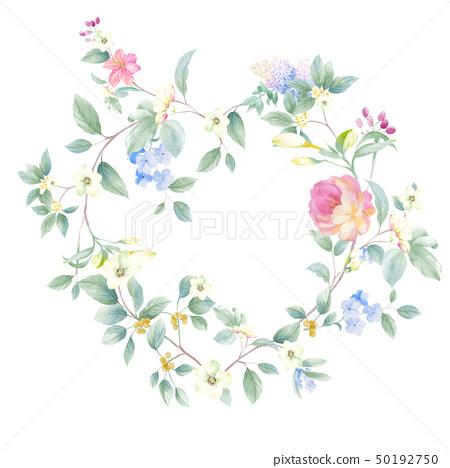 色彩豐富的水彩花卉組合 50192750