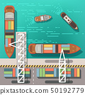 Sea dock or cargo seaport with floating ships and boats. Top view vector illustration 50192779
