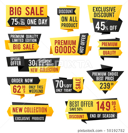 Price tag, promo banners and discount labels. Business presentation design vector elements 50192782