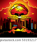 Burning city with nuclear explosion of atomic bomb. Cartoon vector illustration 50193217