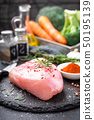 Fresh raw turkey meat fillet with ingredients for 50195139