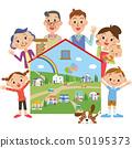 房子,三代家庭和城市景觀 50195373