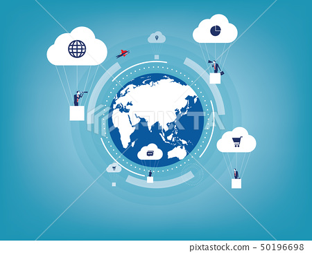 Global innovation with Business communication. 50196698