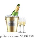Opened champagne bottle in bucket with ice vector 50197259