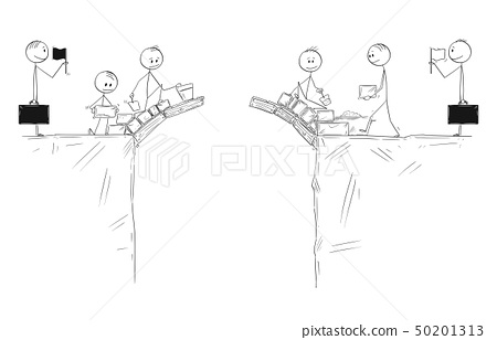 Cartoon of Two Groups of Men Cooperate and Building Together Bridge to Connect and Collaborate 50201313