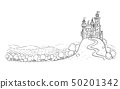 Cartoon Drawing or Illustration of Fantasy Landscape with Castle on Hill and Forest Around. 50201342