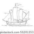 Cartoon of Man or Businessman Standing as Captain on the Sailing Boat Deck and Pointing Forward 50201353