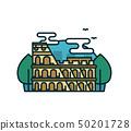 Colosseum in Rome, trees. Vector modern  50201728