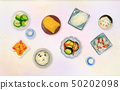 Japanese pickled vegetables, top view 50202098