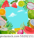 Summer time fruit and blue space sky. 50202151