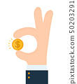 Businessman hand shows gesture okay  50203291