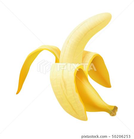 Realistic vector banana, Realistic Half Peeled Banana isolated 50206253