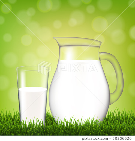 Jug With Glass And Grass Border 50206626