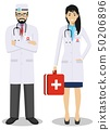 Medical teamwork concept. Detailed illustration couple of paramedic man and woman, emergency doctor 50206896