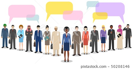 Group of men businessmen standing together and speech bubbles on white background in flat style 50208146