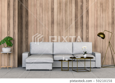 interior living room wall wood with sofa 50210158
