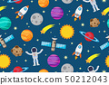 Seamless pattern of astronauts and planet in space 50212043